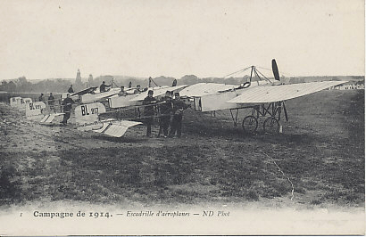 Squadron of French Blériot two-seater planes including BL217, 221, and 222. Blériots continued to be used as training planes into at least 1916.