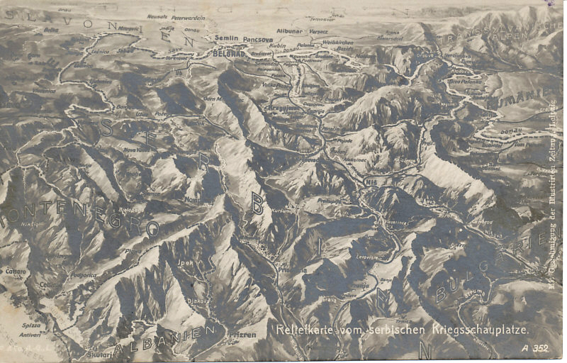 Balkan Front Postcard relief map of the Serbian Front. Although difficult to read, the following landmarks are legible and visible. The plains of Hungary are at the top immediately north of the Danube River and the Serbian capital of Belgrade. The Adriatic Sea is at the bottom left along the coasts of Montenegro and Albania. To the east, south to north, are Bulgaria, Romania, and the Transylvanian Alps. Serbian landmarks include the city of Nisch, and the valleys of the Struma . . .