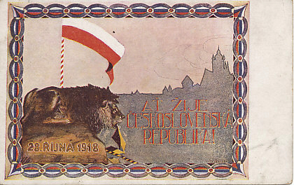 Postcard celebrating the independence of Czechoslovakia from Austria-Hungary, proclaimed in its capital Prague on October 28, 1918. The lion, a symbol of Bohemia dating to the 12th or 13th century, became part of the coat of arms of, and a symbol for, Czechoslovakia. The lion holds in its mouth remnants of a Habsburg banner, while looking at part of the Prague skyline.