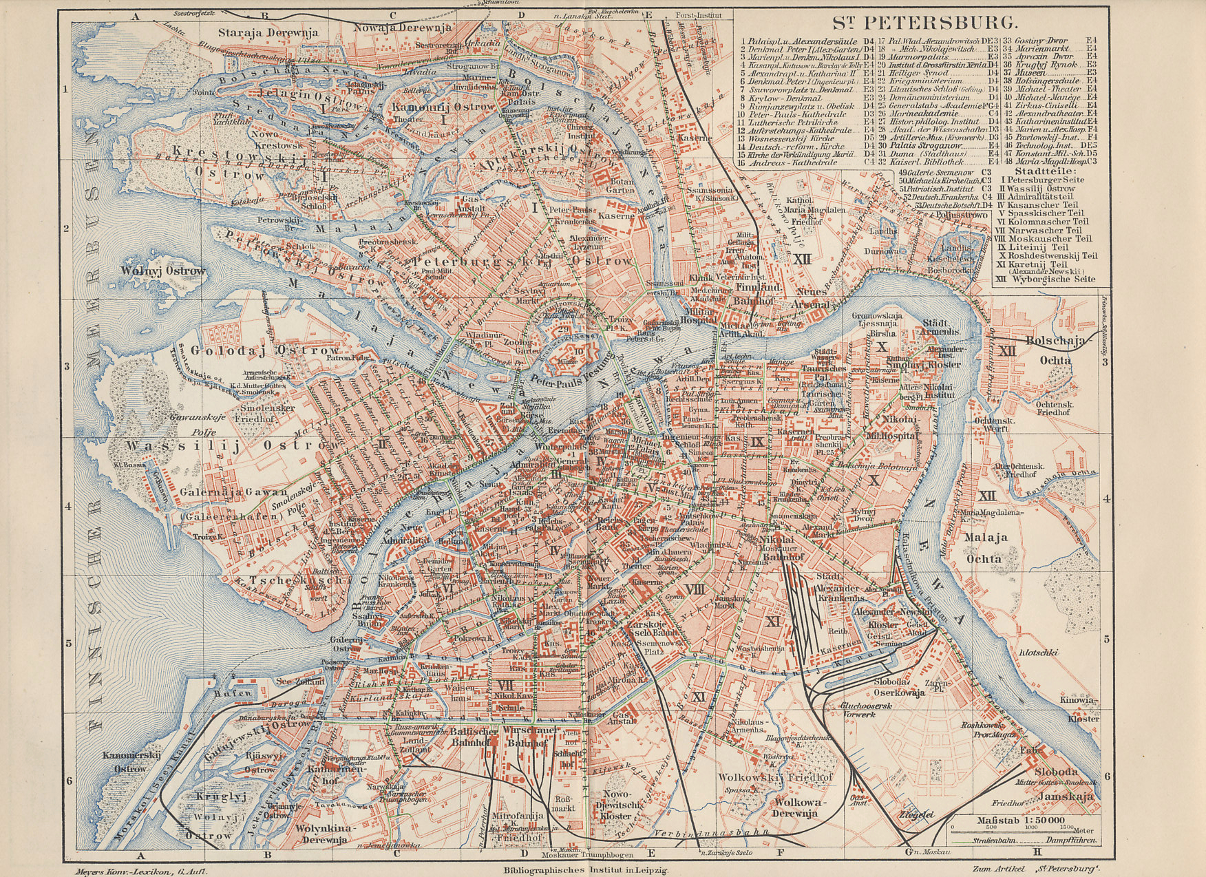 1898 map of St. Petersburg, the Russian capital, from a German atlas. Central St Petersburg, or Petrograd, is on the Neva River. Key landmarks include the Peter and Paul Fortress, which served as a prison, Nevski Prospect, a primary boulevard south of the Fortress, the Finland Train Station, east of the Fortress, where Lenin made his triumphal return, the Tauride (Taurisches) Palace, which housed the Duma and later the Petrograd Soviet.