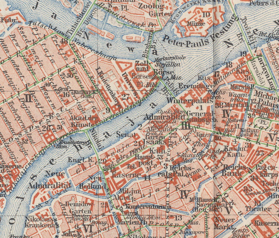 Detail from a 1898 map of St. Petersburg, the Russian capital, from a German atlas. Central St Petersburg, or Petrograd, is on the Neva River. Key landmarks from top to bottom include the Peter and Paul Fortress, which served as a prison, Nevski Prospect, a primary boulevard south of the Fortress, and the Mariyinsky Theater.
