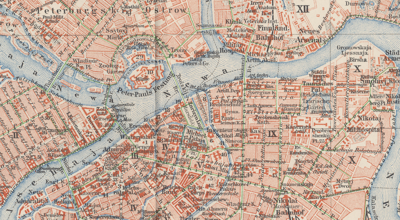 Central detail from a 1898 map of St. Petersburg, the Russian capital, from a German atlas. Central St Petersburg, or Petrograd, is on the Neva River. Key landmarks include the Peter and Paul Fortress, which served as a prison, Nevski Prospect, a primary boulevard south of the Fortress, the Finland Train Station, east of the Fortress, where Lenin made his triumphal return, the Tauride (Taurisches) Palace, which housed the Duma and later the Petrograd Soviet.