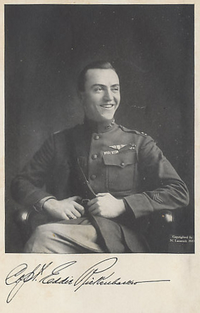 Photograph of Captain Eddie Rickenbacker, America's Ace of Aces, the frontispiece from his memoir 'Fighting the Flying Circus'.