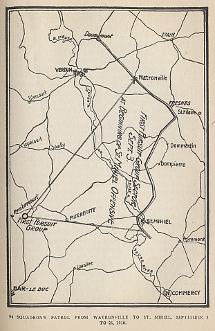 Map of the patrol for the United States 94th Squadron for September 3 to 26, 1918. The period covered the St. Mihiel Offensive and the beginning of the Meuse-Argonne Offensive. From 'Fighting the Flying Circus' by Capt. Edward V. Rickenbacker who took command of the Squadron — the Hat in Ring Squadron — on September 24.