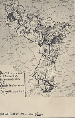 Personifications of Alsace and Lorraine in a German postcard. Lorraine looks to France, but Alsace to Germany, a point made by the poem.