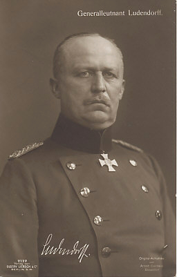 Lieutenant General Erich Ludendorff, chief of staff to General Paul von Hindenburg. Together they commanded German forces on the Russian Front until Hindenburg replaced Erich von Falkenhayn as Commander of the German Army in 1916. Through the rest of the war Hindenburg and Ludendorff commanded the German Army.