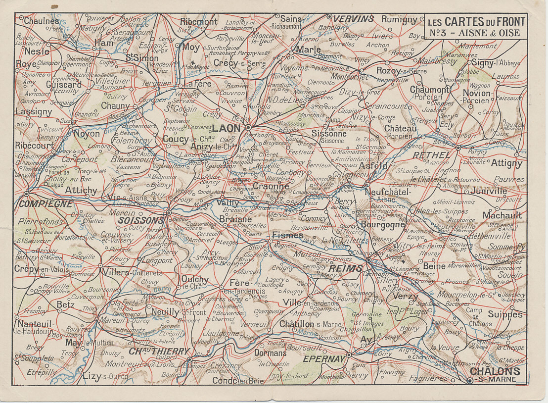 Western Front: Aisne & Oise. French folding postcard map of the Aisne and Oise , number 3 from the series %i1%Les Cartes du Front%i0%. The map includes the Champagne front from Compiègne in the west to Chalons-sur-Marne in the east including Soissons, Chemin des Dammes, Laon, Reims, and Château Thierry.