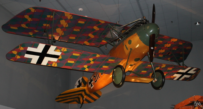 Albatros Scout from the Air and Space Museum, Washington, D.C., shot from below.