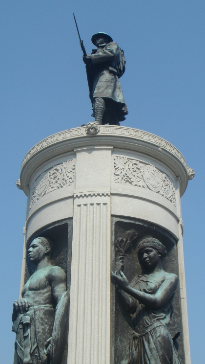Detail of the Victory Monument commemorating the Eighth Regiment of the Illinois National Guard, an African-American unit that served in France reorganized as the 370th U.S. Infantry Regiment of the 93rd Division. The bronze sculpture is by Leonard Crunelle and was erected in 1927.