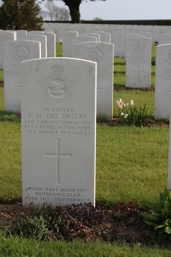 Headstone of Sapper E.M. Des Brisay, 2nd Canadian Signal Company, Attd. Royal Flying Corps, died August 3, 1916, age 23, at Cabaret Rouge British Cemetery, Souchez, France.