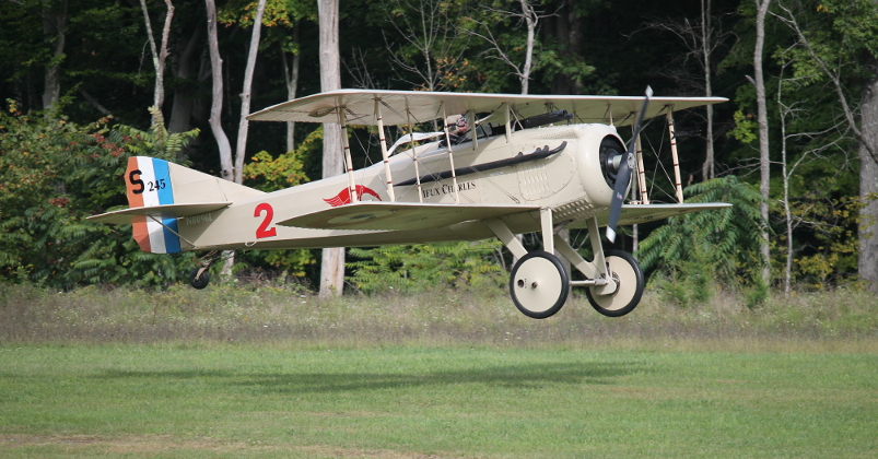 Copy of 'Vieux Charles,' the 1916 Spad VII of French ace Georges Guynemer, landing at Olde Rhinebeck Aereodrome, Rhinebeck, New York, September 15, 2013.