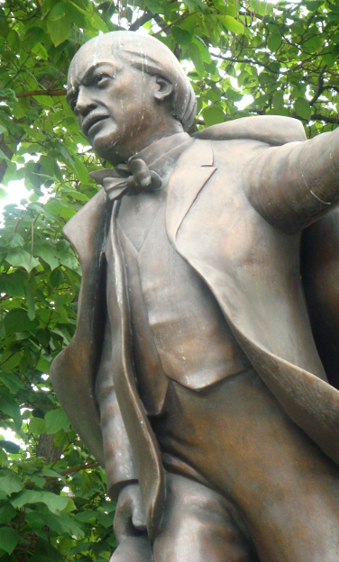 Memorial statue to Prime Minister David Lloyd George in Parliament Square, London, United Kingdom.