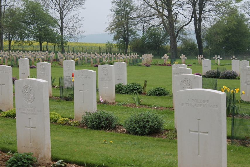 French and British unknown soldiers at Thiepval Memorial.