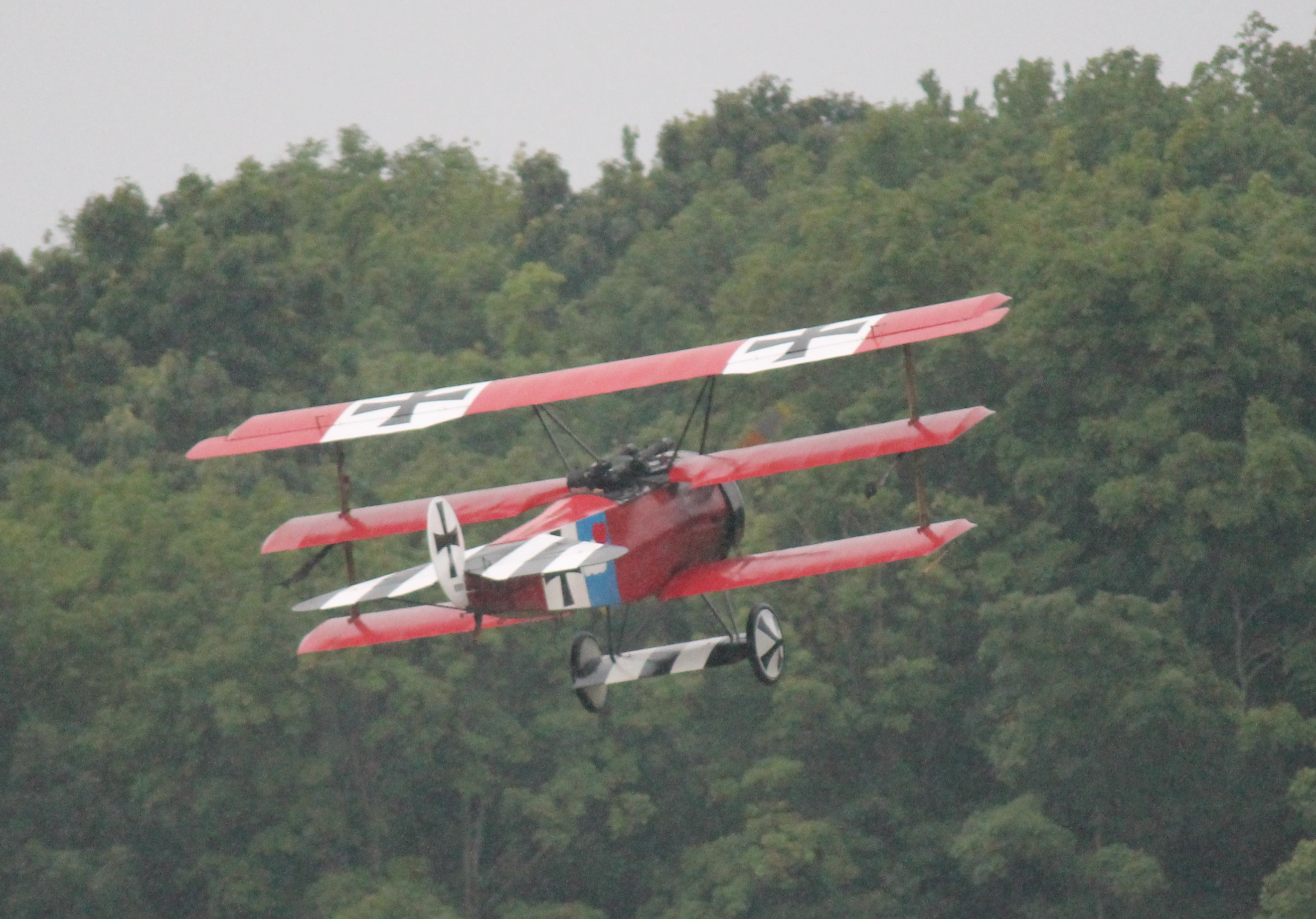 Fokker Dr.I just after takeoff at the Old Rhinebeck Aerodrome in Rhinebeck, New York. No Dr.Is survive. The Aerodrome