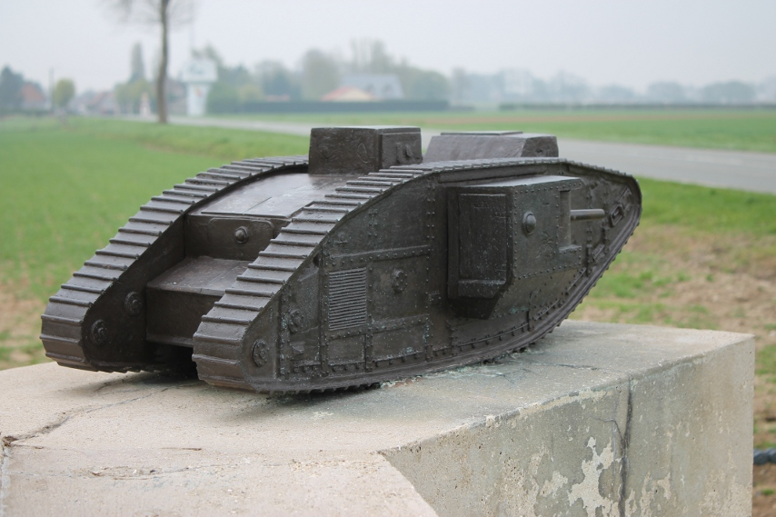 A Mark V tank from the monument to the Tank Corps, Pozières, France. (Thanks to James Reeve of the site Landships II for the following: The model on the monument is of a Mk V. You can tell by the second cab on the roof towards the rear, and the ventilation louvres on the side towards the rear. Also, the Mk IV male carried 3 machine guns (1 in the cab and 1 in each sponson) as well as the 6 pounders, and the female 5 (1 in the cab and 2 in each sponson). The Mk V had an additional machine gun fitted in the rear panel, making 4 in the male and 6 in the female.)