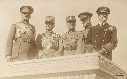Allied commanders Lieutenant General Jacques of Belgium, General Diaz of Italy, Marshall Foch of France, General Pershing of the United States, and Admiral Beatty of Great Britain at the dedication of the Liberty Memorial in Kansas City, November 1, 1921.