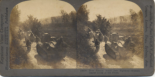 A column of French Renault tanks moving to the front in a stereo card. The Renault tanks were used by both French and American forces.
