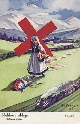 "Switzerland personified bears the symbol of the International Red Cross, headquartered in Geneva, Switzerland, and the inverse of the Swiss flag, a white cross on a field of red. In the foreground a train bearing the French tri-color and labeled ""grands blessés"" — the severely wounded — comes towards France, and a train goes in the opposite direction, to Germany. A bouquet in the French colors lies at the feet of the cross bearer who carries files about and correspondence for prisoners, spilling them along the way. Switzerland borders the combatants France, Germany, Austria-Hungary, and Italy.
