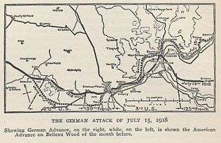 The German Champagne-Marne Offensive began on July 15, 1918. A map of the Offensive, and of the American advance in Belleau Wood in June. From 'The History of The A.E.F. by Shipley Thomas Captain 26th U. S. Infantry, First Division, A. E. F., with Maps, Diagrams, and Illustrations'.
