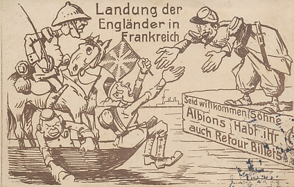 German postcard of the British Expeditionary Force, the BEF, landing in France in August 1914, greeted by a French officer.