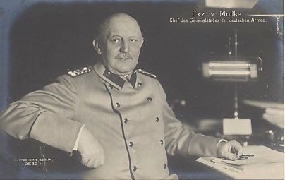 Helmuth von Moltke, Chief of the German General Staff from 1906 to 1914. He commanded Germany's armies at the beginning of the war, but was replaced after the German %+%Event%m%18%n%defeat at the Marne%-%.
