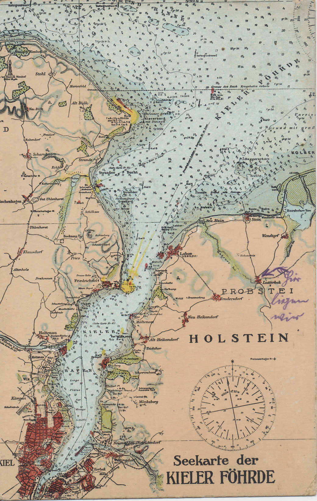 Nautical chart of the Kiel Fjord on the Baltic Sea, leading to Kiel, one of the home ports of the German Baltic Fleet. ? Just north of Kiel is the entrance to the Kaiser Wilhelm Canal, which crosses the Jutland Peninsula in the state of Schleswig-Holstein, and carries traffic to the mouth of the River Elbe on the North Sea.