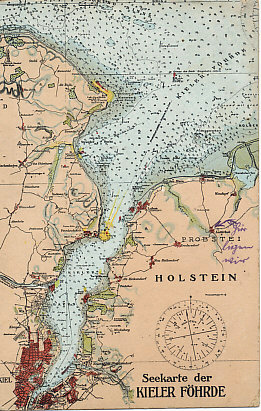 Nautical chart of the Kiel Fjord on the Baltic Sea, leading to Kiel, one of the home ports of the German Baltic Fleet. Just north of Kiel is the entrance to the Kaiser Wilhelm Canal, which crosses the Jutland Peninsula in the state of Schleswig-Holstein, and carries traffic to the mouth of the River Elbe on the North Sea.