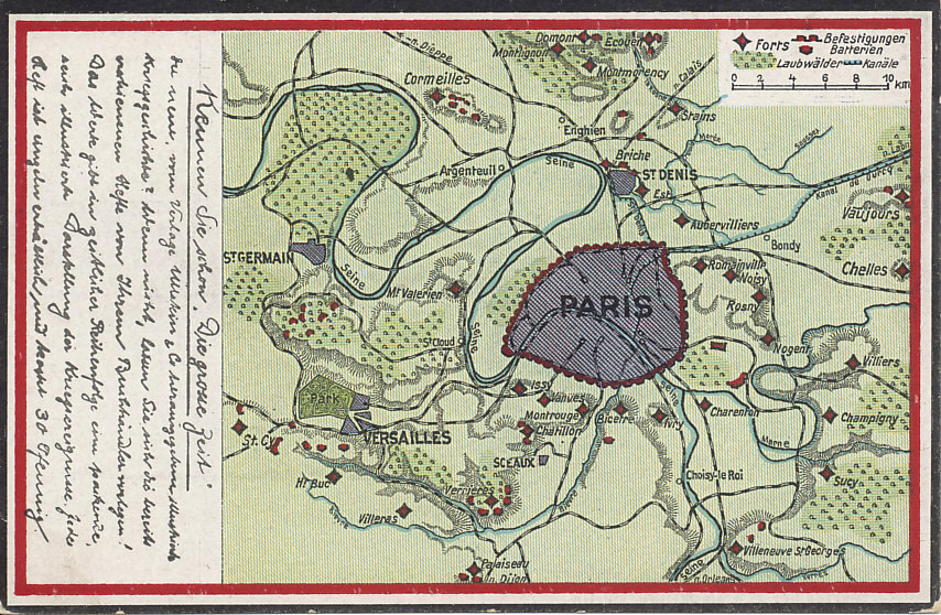 Map of Paris and environs with surrounding forts and fortifications.
