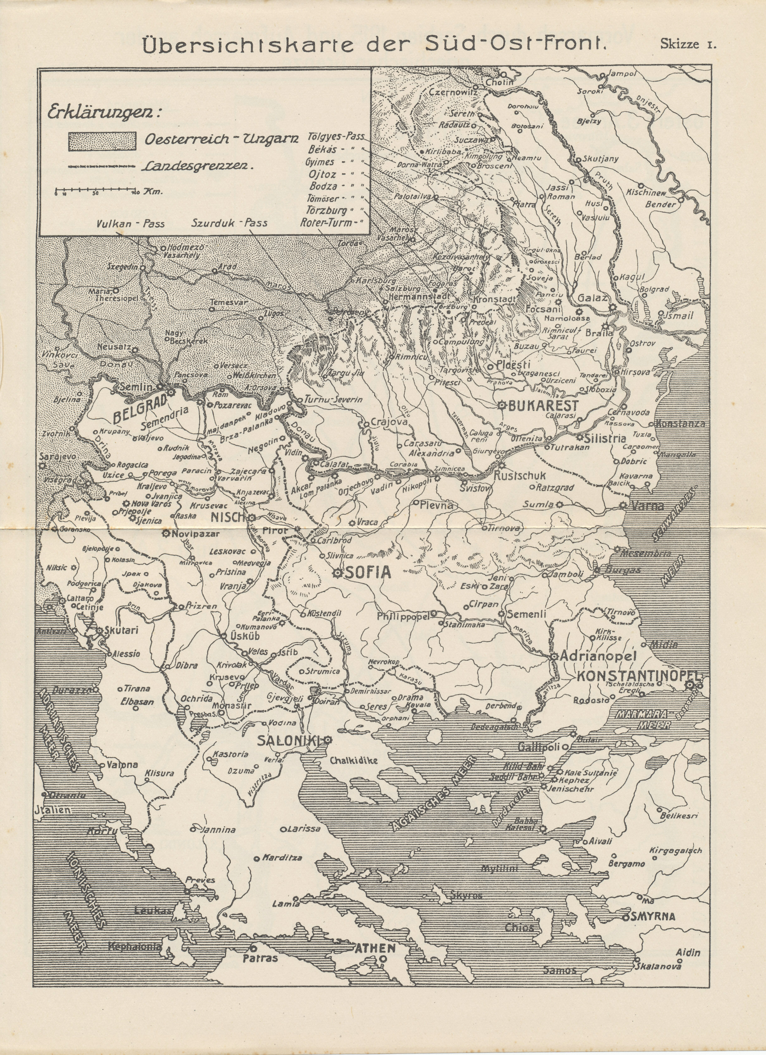 Map of the the Balkan Front — Germany's Southeast Front — with the mountain passes between Austria-Hungary and Romania. From the Reichsarchiv history of the wars in Serbia and Romania, Herbstschlacht in Macedonien; Cernabogen 1916.