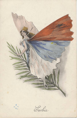 Serbia as a butterfly woman armed with a sword, the Serbian flag represented on her wings. From a series of postcards depicting the allies as butterfly women. (The counterpart is a series depicting the Central Powers as stinging insects.)