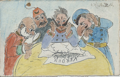 "The rulers of the Central Powers stumped by Verdun. Franz Joseph of Austria-Hungary, Mohammed V of Turkey, Kaiser Wilhelm of Germany, and Czar Ferdinand of Bulgaria puzzle over a map labeled ""Verdun."" The ink and watercolor drawing is dated March 4, 1916. By R. DLC?