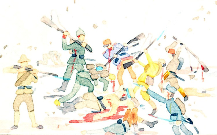 Troops fighting, shooting, bayoneting, using rifles             as clubs, in uniforms of France, Germany, Turkey, Austria-Hungary, Russia, Australia. From a postcard by Schima Martos, 1917.