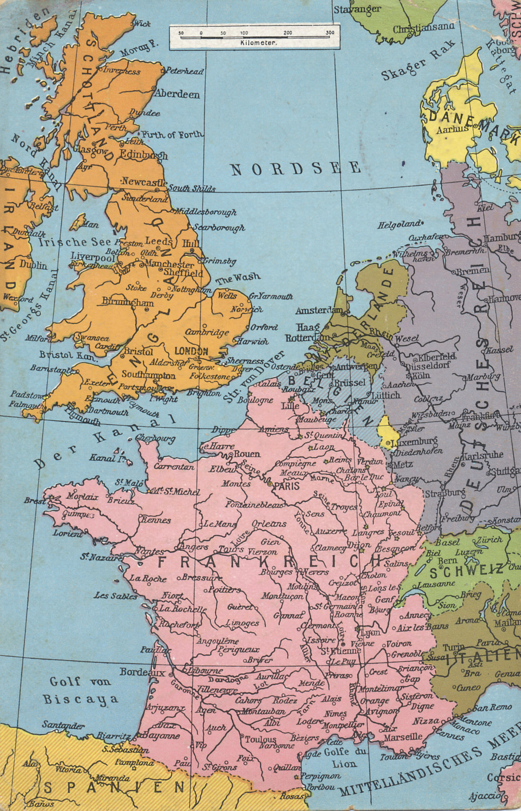 Map of western Europe from the Mediterranean to the North sea, including France and Belgium, the Western Front.