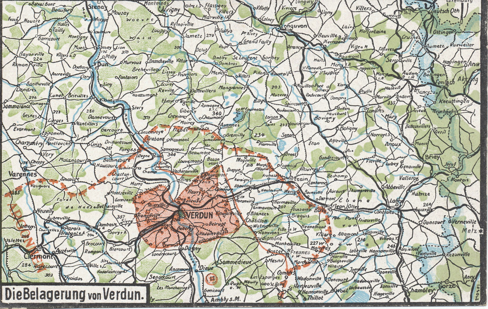 Postcard map with of Verdun, France, showing the forts of Douaumont and Vaux and the German siege line.