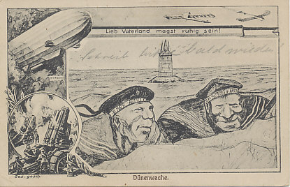 Two German marines, of the IX and XI Marine Artillery, watching in the dunes along the North Sea or Baltic Sea coast.