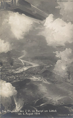 Zeppelin Z. VI in the battle for Liège, greatest of the Belgian fortresses on the Meuse River, August 6, 1914.