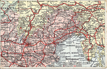Map of northeastern Italy, the border with Austria-Hungary, and the northern Adriatic. Red lines mark railroads and red dots forts.