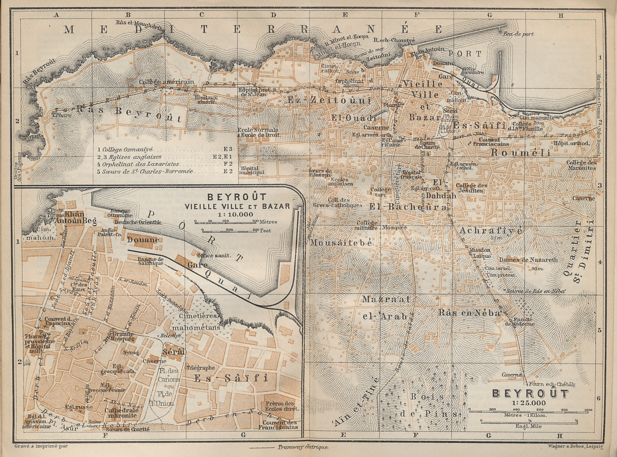 Map of Beirut and its old city and bazaar from the Baedeker guide to 'Palestine and Syria with Routes through Mesopotamia and Babylonia and with the Island of Cyprus'.