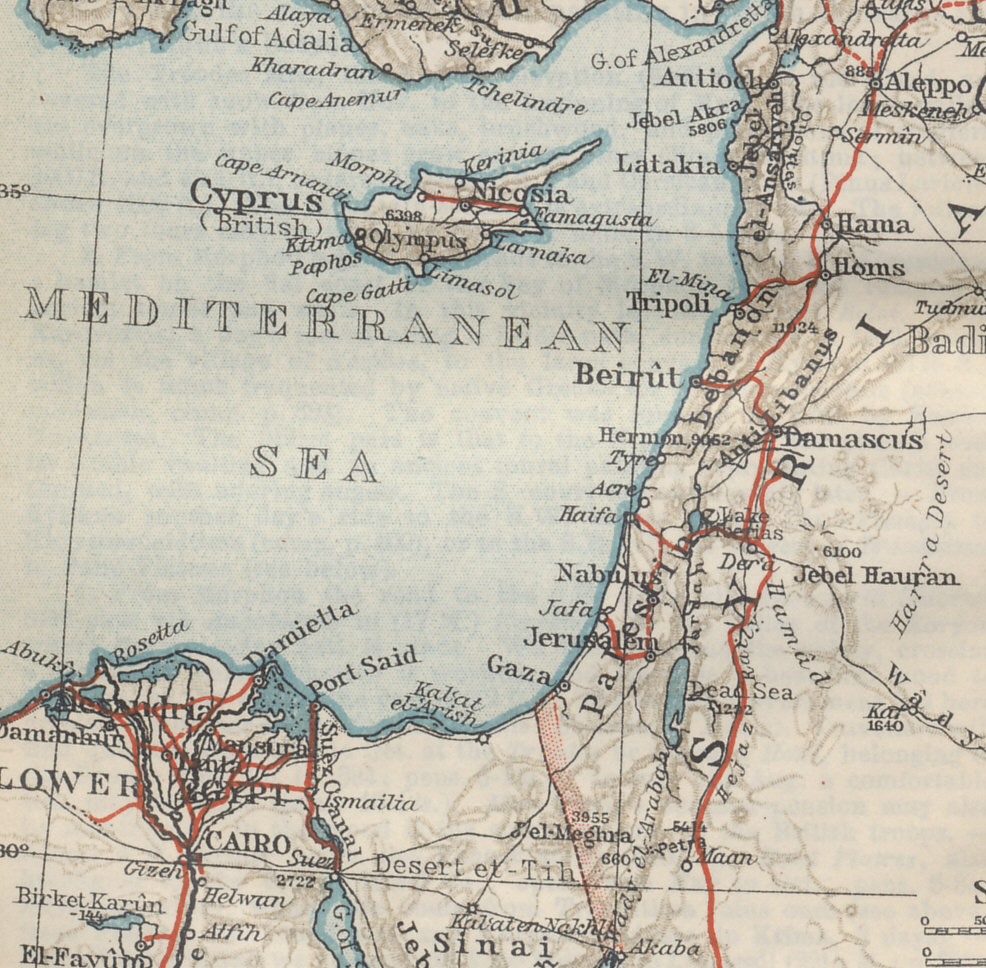 Syria and Palestine Front: Showing Cairo, Egypt, the northern Sinai peninsula, Akaba on the Red Sea, Jerusalem, Beirut, Damascus, and Aleppo. The Hejaz Railway runs north, parallel to the Mediterranean coast. From 'Palestine and Syria with Routes through Mesopotamia and Babylonia and with the Island of Cyprus' by Karl Baedeker.