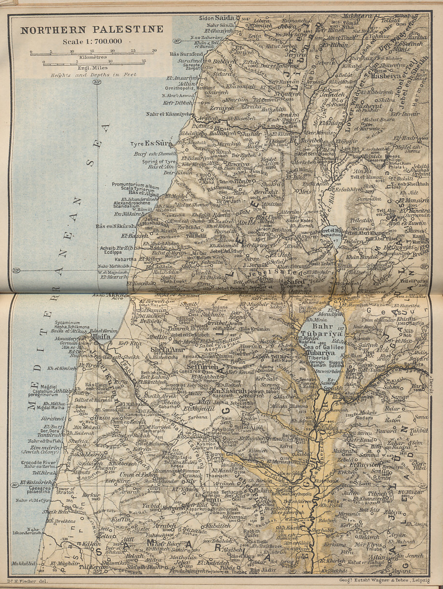 Northern Palestine from 'Palestine and Syria with Routes through Mesopotamia and Babylonia and with the Island of Cyprus' by Karl Baedeker