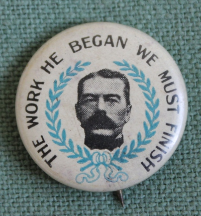 Lapel pin of Lord Kitchener, lost at sea on June 5, 1916 when the ship on which he was traveling to Russia struck a mine.