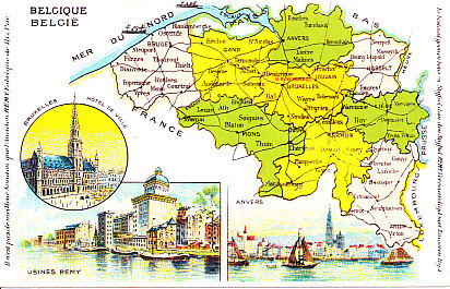 Color postcard map of Belgium, its provinces, railroad lines, major towns and cities, and North Sea coast and borders with the Netherlands, Germany, Luxemburg, and France. Insets show City Hall in the capital of Brussels, a view from the water of the port of Antwerp, and the Remy factory, starch manufacturer.