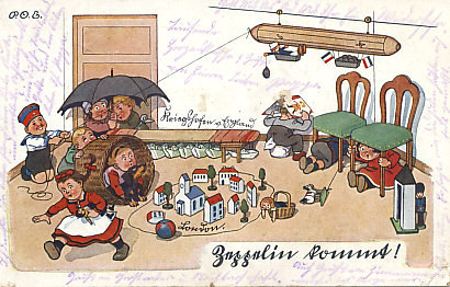 Zeppelin Kommt! Children play a Zeppelin raid on London. Holding his bomb in the gondola is a doll of the airship's inventor, Count Zeppelin. The other children, playing the English, cower, and the British fleet — folded paper boats — remains in port. Prewar postcards celebrated the imposing airships and the excitement they generated with the same expression, 'Zeppelin Kommt!'. Postcard by P.O. Engelhard (P.O.E.). The message on the reverse is dated May 28, 1915.