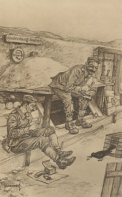 The soldier's life in the Hindenburg Trenches, postcard from a drawing by Kurzweg