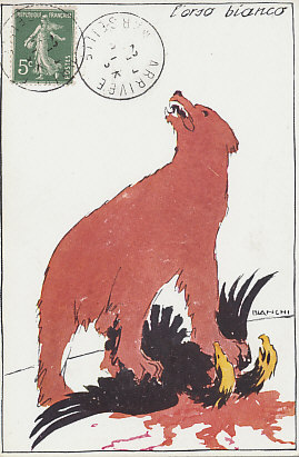 The white Russian bear, dyed red with Austro-Hungarian blood, triumphs over the Habsburg Eagle. Russian was victorious in %+%Location%m%85%n%Galicia%-% in 1914 and early 1915. A postcard by Bianchi.