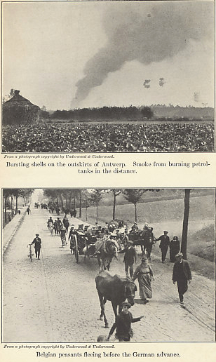Illustrations for 'The Fall of Antwerp' from Antwerp to Gallipoli by Arthur Ruhl. Shell bursts and smoke from burning petrol tanks are visible in the upper photograph. In the lower, Belgian peasants flee the German advance.
