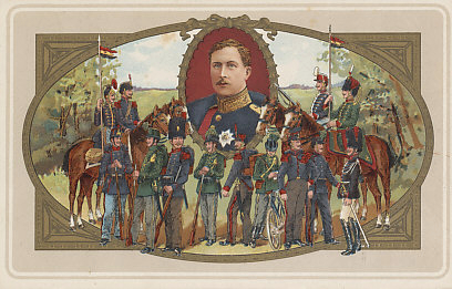 Lithograph postcard of the uniforms of the Belgian military including infantry, cavalry, and bicycle corps beneath a portrait of King Albert I.