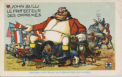 As an injured Russian bear and plucked French cock stumble off, Britain's John Bull protects his fleet with the flags of neutral nations, while making his throne on his colonies and allies: Egypt, India, Belgium, Ireland, Transvaal (part of the Union on South Africa), and, at the center, Italy, an ally since May, 1915. A postcard from 1915, labeled in French and German.