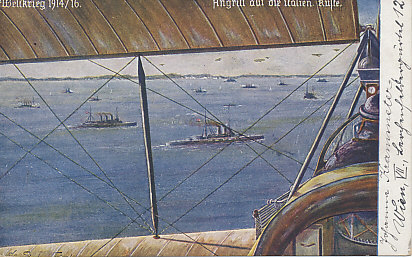 Painting of a view from an airplane of an attack by the Austro-Hungarian fleet on the Italian coast. The message on the reverse is dated November 2, 1918.