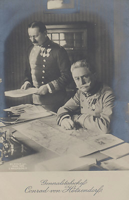 Conrad von Hötzendorf, Chief of the Austro-Hungarian General Staff, Vienna, 1914. By the end of that year he had lost as many as one million men, much of his country's rolling stock, and the northeastern region of %+%Location%m%85%n%Galicia%-%. His forces had also been defeated by Serbia three times.